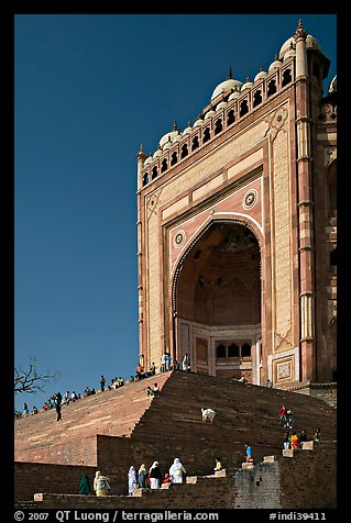 Buland Darwaza (Victory Gate), Asia's largest, Dargah mosque. Fatehpur Sikri, Uttar Pradesh, India (color)