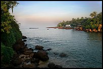 Oceanfront with house and palm trees, Dona Paula. Goa, India (color)