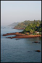 Coastline with palm trees, Dona Paula. Goa, India