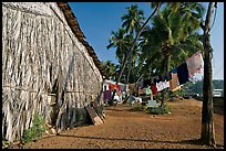 Laundry and beachfront hut, Dona Paula. Goa, India (color)