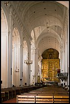Nave and altar of Se Cathedral , Old Goa. Goa, India