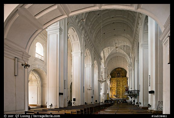 Nave of Se Cathedral , Old Goa. Goa, India