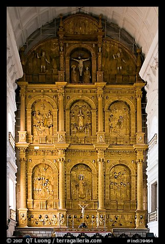 Main altar, dedicated to St Catherine of Alexandria, Se Cathedral , Old Goa. Goa, India (color)
