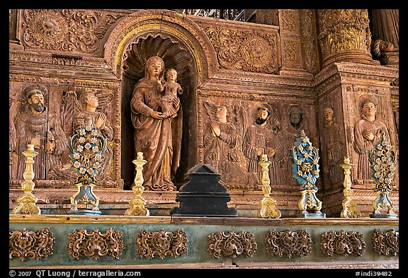 Detail of gilded and carved woodwork, Church of St Francis of Assisi, Old Goa. Goa, India (color)