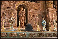 Detail of gilded and carved woodwork, Church of St Francis of Assisi, Old Goa. Goa, India