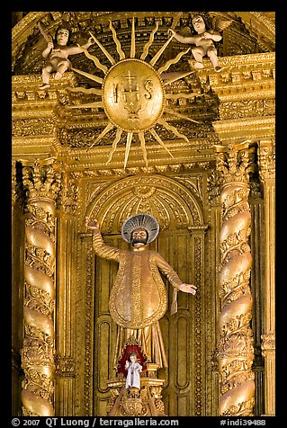 Richly guilded  main altar, Basilica of Bom Jesus, Old Goa. Goa, India