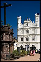 Cross and church of St Francis of Assisi, Old Goa. Goa, India (color)