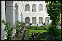 Garden in courtyard of Basilica of Bom Jesus, Old Goa. Goa, India (color)