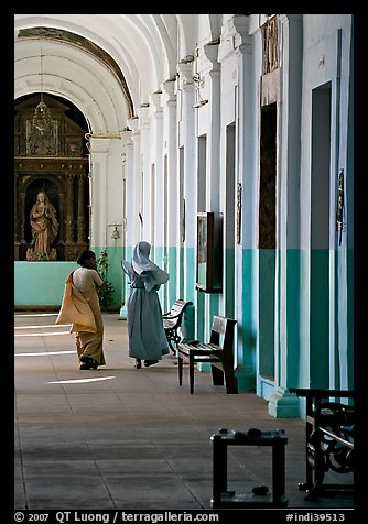 Woman and nun in Convent of St Monica , Old Goa. Goa, India (color)