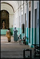 Woman and nun in Convent of St Monica , Old Goa. Goa, India