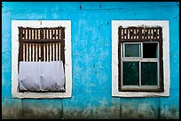 Windows on facade painted blue, Panjim. Goa, India