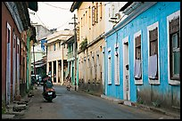 Street with painted houses, Panaji. Goa, India