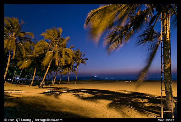 Miramar Beach at twilight. Goa, India (color)