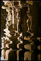 Statues in the corridor (pradakshina), Parsvanatha temple, Eastern Group. Khajuraho, Madhya Pradesh, India ( color)