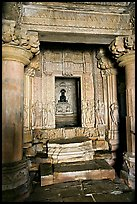 Columns and inner sanctum  with black image of Parsvanatha, Parsvanatha temple, Eastern Group. Khajuraho, Madhya Pradesh, India
