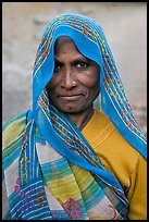 Elderly woman with head scarf. Khajuraho, Madhya Pradesh, India