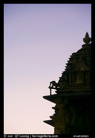 Temple profile, Western Group, sunset. Khajuraho, Madhya Pradesh, India (color)