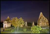 Temples of the Western Group at night. Khajuraho, Madhya Pradesh, India