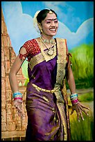 Woman performing at Kandariya art and culture show. Khajuraho, Madhya Pradesh, India (color)