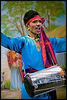 Man performing at Kandariya art and culture show. Khajuraho, Madhya Pradesh, India