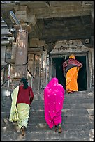 Women climbing up stairs on Matangesvara temple. Khajuraho, Madhya Pradesh, India (color)