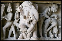 Elephant and Mithuna figures, Lakshmana temple. Khajuraho, Madhya Pradesh, India