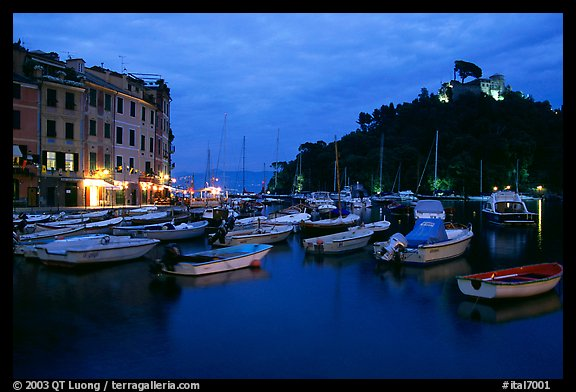 Harbor and San Giorgio castle at dusk, Portofino. Liguria, Italy (color)