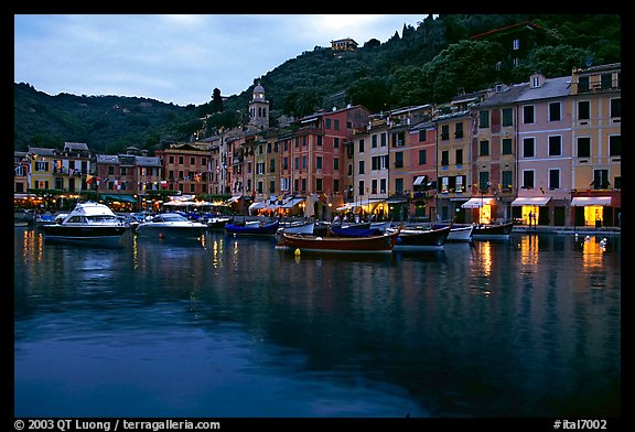 Harbor and hills at dusk, Portofino. Liguria, Italy (color)