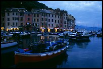 Old harbor at dusk, Portofino. Liguria, Italy