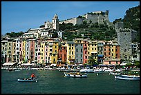 Castle, village, and harbor, Porto Venere. Liguria, Italy (color)