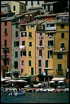 Pastel-colored houses and harbor, Porto Venere. Liguria, Italy