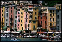 Harbor and townhouses, Porto Venere. Liguria, Italy (color)