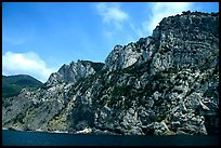 Steep limestone cliffs dropping into the Mediterranean. Cinque Terre, Liguria, Italy