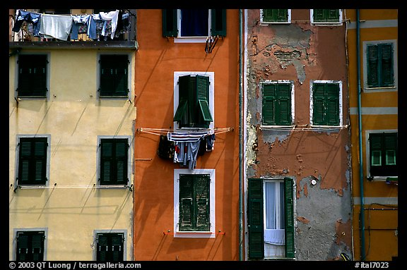 Multicolored houses, Riomaggiore. Cinque Terre, Liguria, Italy (color)