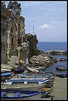 Fishing boats, harbor, and Mediterranean Sea, Riomaggiore. Cinque Terre, Liguria, Italy