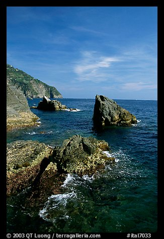 Mediterranean coastline and rocks near Manarola. Cinque Terre, Liguria, Italy