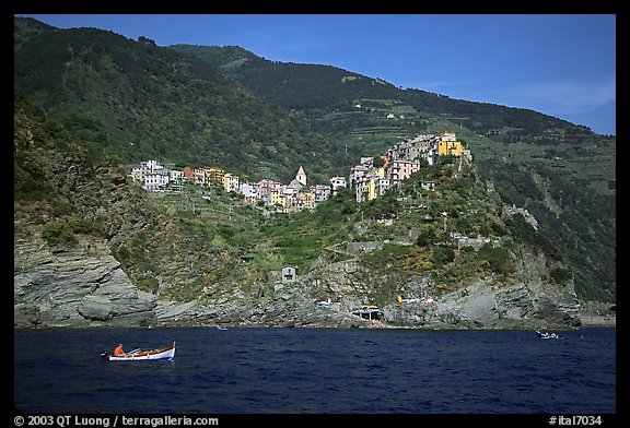 Corniglia, on ridge high above the Mediterranean sea. Cinque Terre, Liguria, Italy
