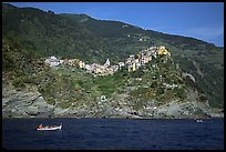 Corniglia, on ridge high above the Mediterranean sea. Cinque Terre, Liguria, Italy ( color)