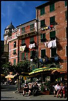 Resting at outdoor terrace on Piazza Guglielmo Marconi, Vernazza. Cinque Terre, Liguria, Italy (color)