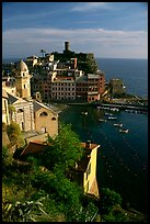 Fishing port, church, old castle and village, Vernazza. Cinque Terre, Liguria, Italy
