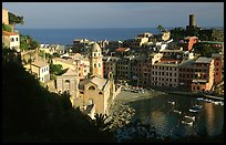Harbor and Castello Doria (11th century), late afternoon, Vernazza. Cinque Terre, Liguria, Italy
