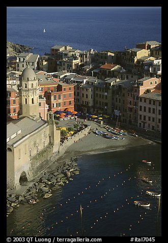 Church, harbor, and beach seen from above, Vernazza. Cinque Terre, Liguria, Italy