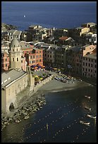Church, harbor, and beach seen from above, Vernazza. Cinque Terre, Liguria, Italy ( color)