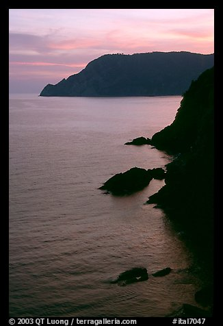 Cliffs at sunset near Vernazza. Cinque Terre, Liguria, Italy