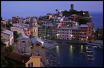 Harbor and Castello Doria, sunset, Vernazza. Cinque Terre, Liguria, Italy (color)
