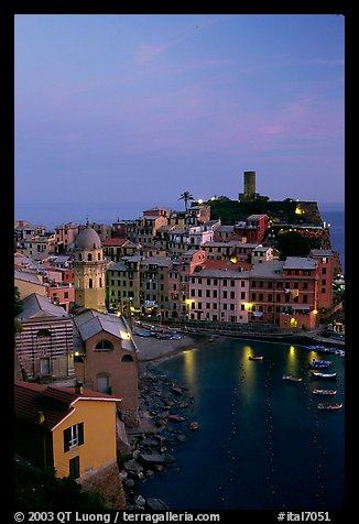 Port and Castello Doria, dusk, Vernazza. Cinque Terre, Liguria, Italy