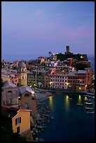 Port and Castello Doria, dusk, Vernazza. Cinque Terre, Liguria, Italy (color)