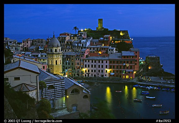 Harbor and Castello Doria, dusk, Vernazza. Cinque Terre, Liguria, Italy