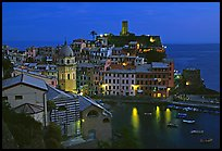 Harbor and Castello Doria, dusk, Vernazza. Cinque Terre, Liguria, Italy (color)