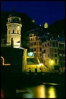 Churches illuminated at night, Vernazza. Cinque Terre, Liguria, Italy